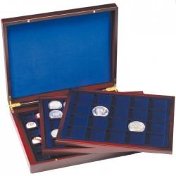 Luxusná drevená kazeta na mince s 3 rôznymi plátami
