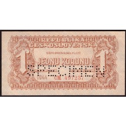 Lot 6 ks - 1, 5, 20, 100, 500 a 1000 korun 1944 - SPECIMEN