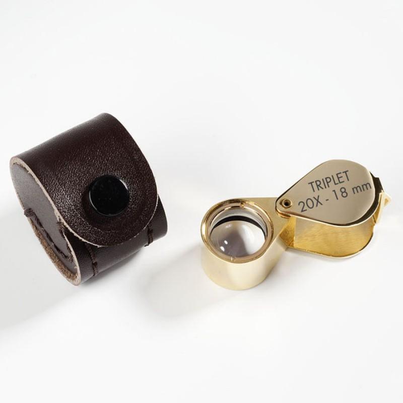 Vrecková lupa s kvalitným spracovaním (20 x) - pozlátená